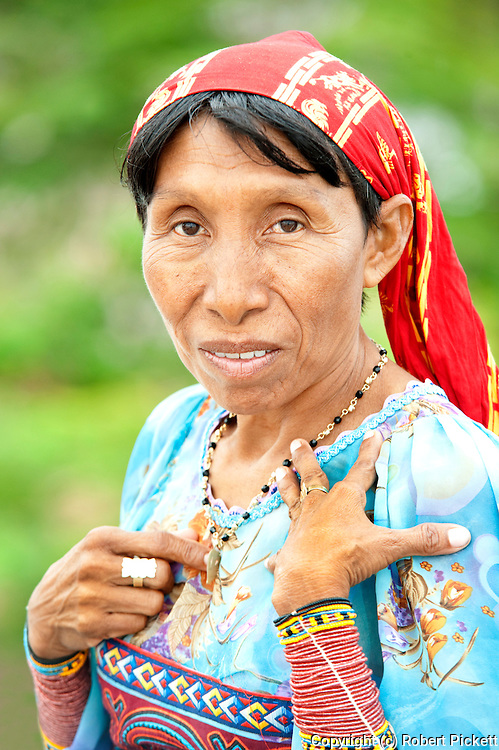 Portrait of Kuna woman in Panama City, in colourful clothing, traditional tribe