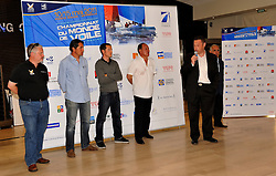 Dider Reault, Ville De Marseille Conseiller Municipal Delegue a La Mer, welcomes the competitors to Match Race France, the opening round of the 2011 World Match Racing Tour.