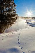 Gardner River in Yellowstone National Park Wyoming during winter