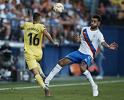 September 20, 2018 - Villarreal, Castellon, Spain - Connor Goldson (R) of Rangers competes for the ball with Alfonso Pedraza of Villarreal CF during the UEFA Europa League group G match between Villarreal CF and Rangers at Estadio de la Ceramica on September 20, 2018 in Vila-real, Spain  (Credit Image: © David Aliaga/NurPhoto/ZUMA Press)