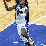 ORLANDO, FL - APRIL 12: Karim Mane #4 of the Orlando Magic drives to the net against the San Antonio Spurs during the second half at Amway Center on April 12, 2021 in Orlando, Florida. NOTE TO USER: User expressly acknowledges and agrees that, by downloading and or using this photograph, User is consenting to the terms and conditions of the Getty Images License Agreement. (Photo by Alex Menendez/Getty Images)*** Local Caption ***  Karim Mane