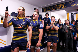 Worcester Warriors  celebrate after beating Gloucester Rugby and securing Premiership Rugby status - Mandatory by-line: Robbie Stephenson/JMP - 28/04/2019 - RUGBY - Sixways Stadium - Worcester, England - Worcester Warriors v Gloucester Rugby - Gallagher Premiership Rugby