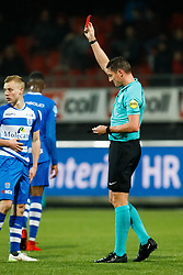 referee Jeroen Manschot shows red to Stanley Elbers of Excelsior during the Dutch Eredivisie match between sbv Excelsior Rotterdam and PEC Zwolle at Van Donge & De Roo stadium on December 09, 2017 in Rotterdam, The Netherlands