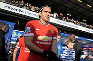 Radamel Falcao  of Manchester United enters the pitch before k/o. Barclays Premier league match, Queens Park Rangers v Manchester Utd at Loftus Road in London on Saturday 17th Jan 2015. pic by John Patrick Fletcher, Andrew Orchard sports photography.
