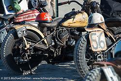 Jen Sheets 1947 Harley-Davidson Knucklehead racer at the Race of Gentlemen. Wildwood, NJ, USA. October 10, 2015.  Photography ©2015 Michael Lichter.