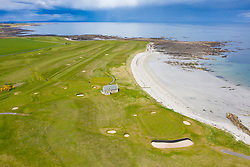 Aerial view of Balcomie Links golf course at Crail Golfing Society golf course, Fife, Scotland,UK