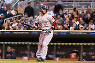 Dustin Pedroia #15 of the Boston Red Sox reacts to a pitch during a game against the Minnesota Twins on May 17, 2013 at Target Field in Minneapolis, Minnesota.  The Red Sox defeated the Twins 3 to 2.  Photo: Ben Krause