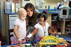 July 24, 2018 - Nashville, Tennessee, U.S. - First Lady Melania Trump visits with four-year-old Essence Overton, left, and three-year-old Natalayah Fields at an activities table during her visit Tuesday, July 24. 2018, to the Monroe Carell Jr. Children's Hospital at Vanderbilt in Nashville (Credit Image: ? Andrea Hanks/White House via ZUMA Wire/ZUMAPRESS.com)