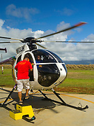 Jack Hareter Helicopter prepares for a sightseeing tour flight out of Lihue (LIH) airport, Lihue, Kauai, Hawaii.