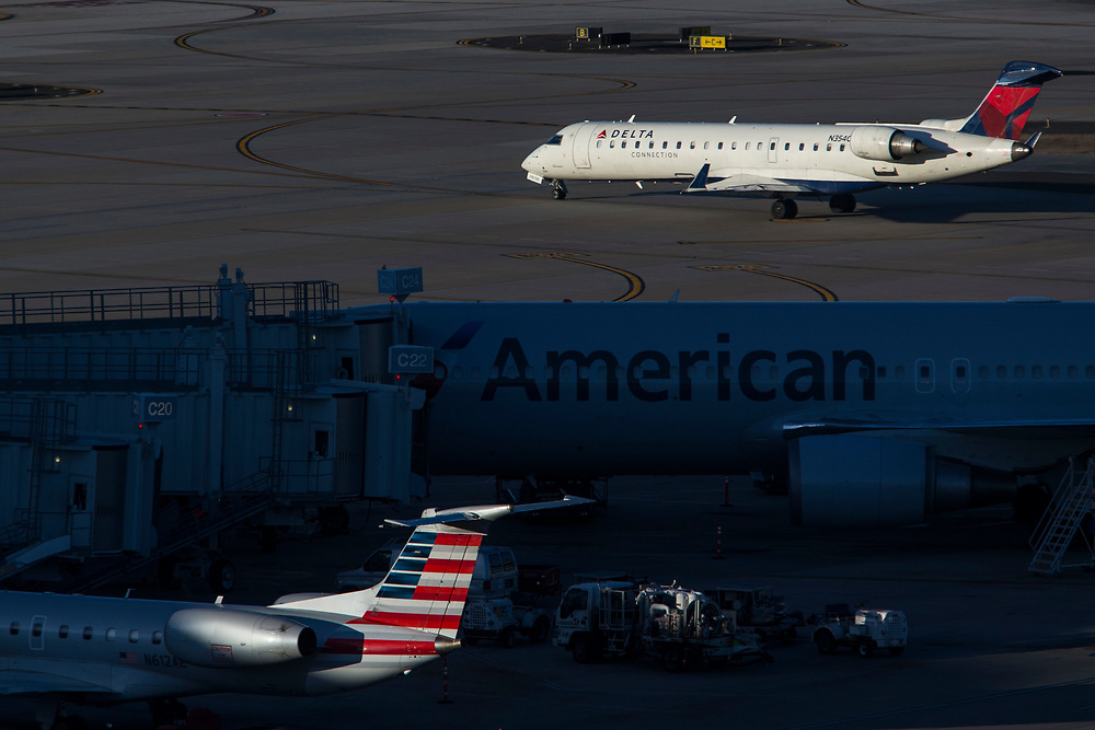 Feb 16, 2017; Raleigh, NC , USA; Commercial airliners at Raleigh-Durham International Airport (RDU). Mandatory Credit: Peter J. Casey
