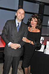 ANDREAS CAMPOMAR and  JOAN COLLINS at a party to celebrate the publication of her  autobiography - The World According to Joan, held at the British Film Institute, South Bank, London SE1 on 8th September 2011.