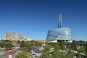 Canadian Museum for Human Rights (CMHR) with the city of Winnipeg in background<br /> Winnipeg<br /> Manitoba<br /> Canada