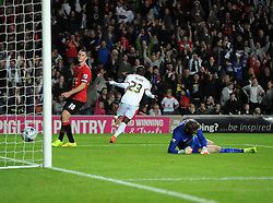 Milton Keynes Dons' Benik Afobe celebrates his first goal of the game - Photo mandatory by-line: Joe Meredith/JMP - Mobile: 07966 386802 26/08/2014 - SPORT - FOOTBALL - Milton Keynes - Stadium MK - Milton Keynes Dons v Manchester United - Capital One Cup
