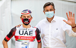 Overall winner Tadej POGACAR of UAE TEAM EMIRATES and Borut Pahor, president of Slovenia after the 4th Stage of 27th Tour of Slovenia 2021 cycling race between Ajdovscina and Nova Gorica (164,1 km), on June 12, 2021 in Slovenia. Photo by Vid Ponikvar / Sportida