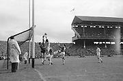 GAA All Ireland Minor Football Final Sligo v. Cork 22nd September 1968 Croke Park..J. Brennan (no.3) Sligo full back and the Sligo goalkeeper P.McLoughlin try to stop this ball from M.Doherty (on right) Cork Full forward but it landed in the back of the net ..22.9.1968  22nd September 1968
