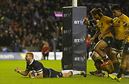 No Sales, Syndication or Archive <br /> <br /> Autumn Tests<br /> Scotland v Australia Saturday 25th November 2017, BT Murrayfield, Edinburgh.<br /> <br /> John Barclay of Scotland scores Scotland's 6th try<br /> <br /> <br />  Neil Hanna Photography<br /> www.neilhannaphotography.co.uk<br /> 07702 246823