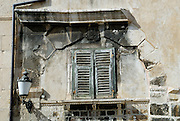 Ancient arch, shuttered windows. Diocletian Palace, Split, Croatia