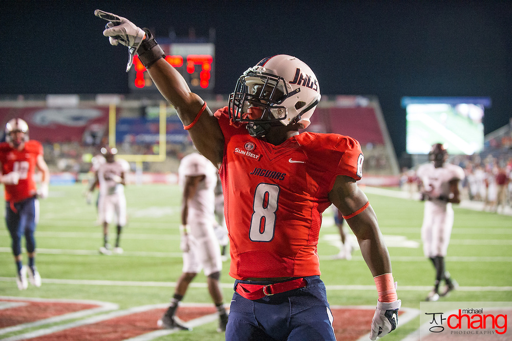 MOBILE, AL - OCTOBER 24: Running back Jay Jones #8 of the South Alabama Jaguars points to the crowd after scoring a touchdown during their game against the Troy Trojans on October 24, 2014 at Ladd-Peebles Stadium in Mobile, Alabama.  The South Alabama Jaguars defeated the Troy Trojans 27-13. (Photo by Michael Chang/Getty Images) *** Local Caption *** Jay Jones