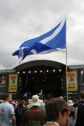 A Saltire at the main arena at T in the Park, Saturday 7 July 2007..T in the Park festival took place on the 6th, 7th and 8 July 2007, at Balado, near Kinross in Perth and Kinross, Scotland. This was the first time the festival had been held over three days..Pic ©2011 Michael Schofield. All Rights Reserved..