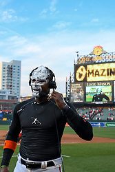 March 29, 2018 - Baltimore, MD, U.S. - BALTIMORE, MD - MARCH 29: Baltimore Orioles center fielder Adam Jones (10) stands  after being hit with a shaving cream filled towel after his walk off home run in the eleventh inning during the Opening Day game between the Minnesota Twins and the Baltimore Orioles on March 29, 2018, at Orioles Park at Camden Yards in Baltimore, MD.  The Baltimore Orioles defeated the Minnesota Twins, 3-2 in eleven innings.  (Photo by Mark Goldman/Icon Sportswire) (Credit Image: © Mark Goldman/Icon SMI via ZUMA Press)
