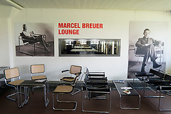 cafe at Bauhaus Building and architecture school designed by  Walter Gropius  in Dessau Germany
