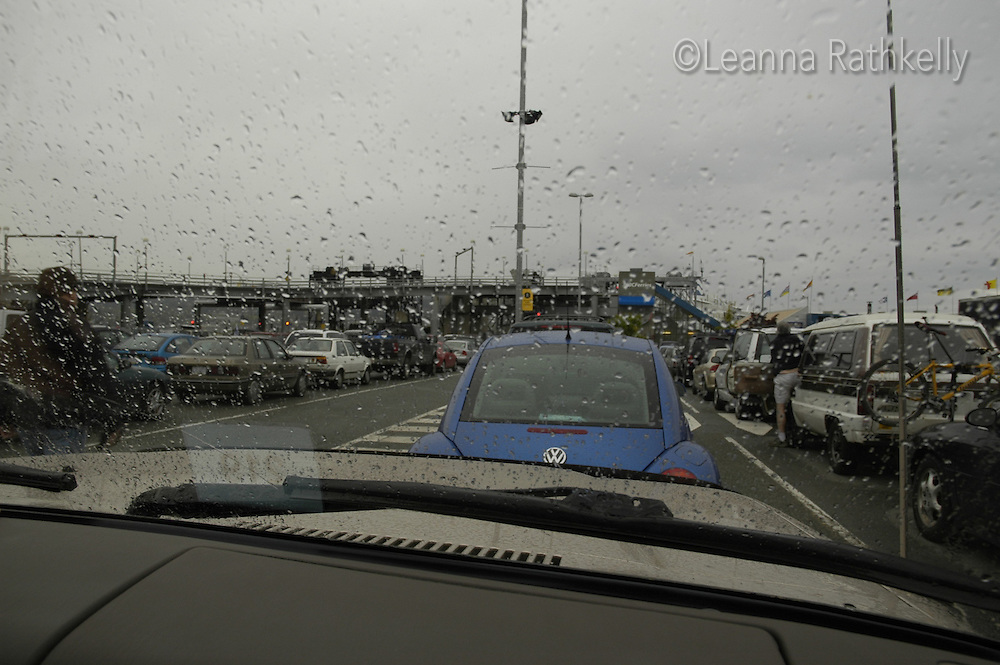 The view from my car windshield while we wait 6 hour for the ferry....