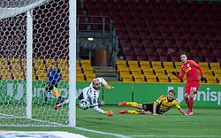 Mikkel Damsgaard (FC Nordsjælland) scorer til 2-0 bag Matej Delač (AC Horsens) under kampen i 3F Superligaen mellem FC Nordsjælland og AC Horsens den 19. februar 2020 i Right to Dream Park, Farum (Foto: Claus Birch).