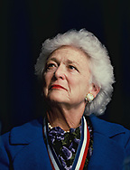 Washington, DC 1989/04/01Barbara Bush watching her husband President H.W. Bush make a speech to the Association of Commercial Colleges.<br />Photo by Dennis Brack