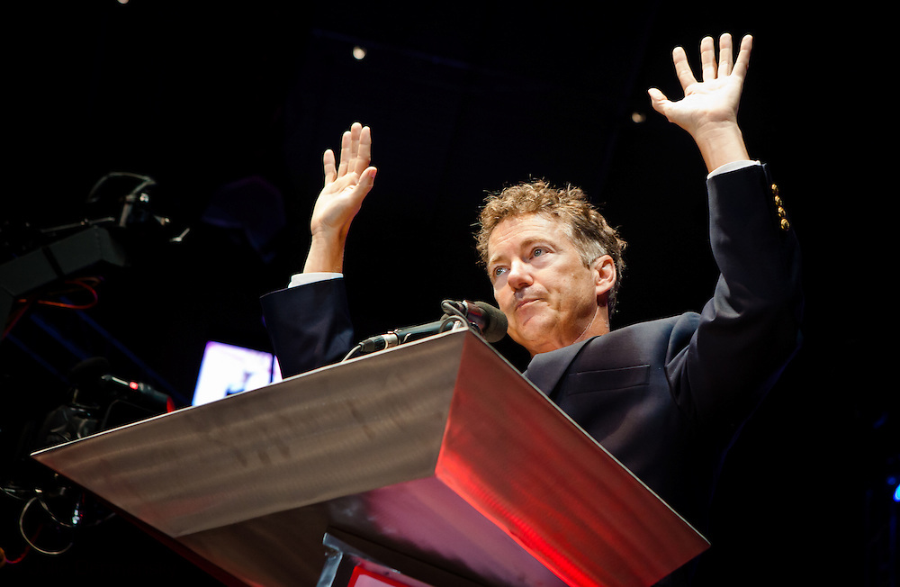 August 26, 2012, Tampa Florida, U.S.State Senator Rand Paul ( R-KY) speaking at  the University of South Florida's Sun Dome during the Ron Paul Rally before introducing his father. Ron Paul held a rally preceding the RNC in Tampa for his supporters and delegates.