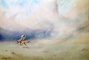 Tempest in the Desert', 1901. Watercolour. Robert Talbot-Kelly (1861-1934) English orientalist landscape painter.   Man in Arab dress riding camel through a sandstorm.