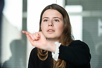 12 MAR 2020, BERLIN/GERMANY:<br /> Luisa Neubauer, Klimaschutzaktivistin, Fridays for Future, waehrend einem Interview, Redaktion Rheinische Post<br /> IMAGE: 20200312-01-037