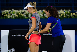 February 18, 2019 - Dubai, ARAB EMIRATES - Elise Mertens of Belgium during a medical timeout in her first round match at the 2019 Dubai Duty Free Tennis Championships WTA Premier 5 tennis tournament (Credit Image: © AFP7 via ZUMA Wire)