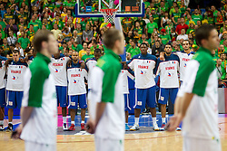 Players of France during basketball game between National basketball teams of Lithuania and France at FIBA Europe Eurobasket Lithuania 2011, on September 9, 2011, in Siemens Arena,  Vilnius, Lithuania. France defeated Lithuania 73-67.  (Photo by Vid Ponikvar / Sportida)