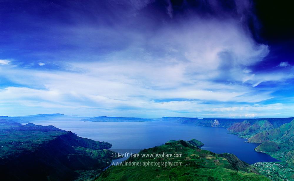 Lake Toba seen from Sibaulangit, North Sumatra, Indonesia.