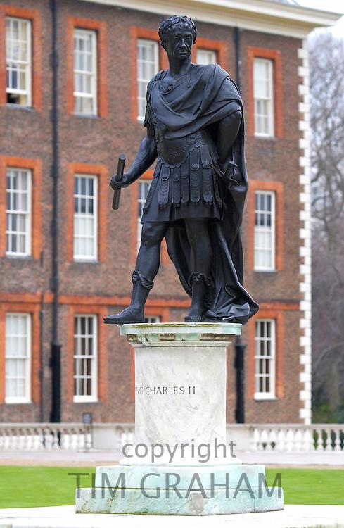 A statue outside the Royal Hospital Chelsea, London. The plinth reads 'Charles II'