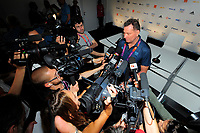 LONDON OLYMPIC GAMES 2012 - CLUB FRANCE , LONDON (ENG) - 25/07/2012 - PHOTO : POOL / KMSP / DPPI<br /> PRESS CONFERENCE - WOMEN HANDBALL TEAM - OLIVIER KRUMBHOLZ / COACH