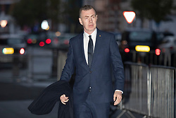 © Licensed to London News Pictures. 24/11/2019. London, UK. Leader of Plaid Cymru Adam Price arrives at the BBC. Later he will appear on the Andrew Marr Show. Photo credit: George Cracknell Wright/LNP