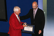 28 August 2006: Hall of Fame President/CEO Will Lunn (right) presents the plaque and ring to 2006 Hall of Fame inductee Al Trost (left). The National Soccer Hall of Fame Induction Ceremony was held at the National Soccer Hall of Fame in Oneonta, New York.