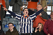 A singing Blackpool supporter fan in the crowd during the EFL Sky Bet League 1 match between Portsmouth and Blackpool at Fratton Park, Portsmouth, England on 24 February 2018. Picture by Adam Rivers.