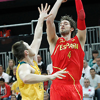 31 July 2012: Spain Pau Gasol takes a jumpshot during the first half of Spain vs Australia, during the men's basketball preliminary, at the Basketball Arena, in London, Great Britain.