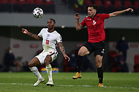 TIRANA, ALBANIA - MARCH 28: Raheem Stelring of England and Freddie Veseli of Albania during the FIFA World Cup 2022 Qatar qualifying match between Albania and England at the Qemal Stafa Stadium on March 28, 2021 in Tirana, Albania. Sporting stadiums around Europe remain under strict restrictions due to the Coronavirus Pandemic as Government social distancing laws prohibit fans inside venues resulting in games being played behind closed doors (Photo by MB Media)