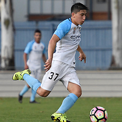 BRISBANE, AUSTRALIA - DECEMBER 3: Austin Wong of the City passes the ball during the round 4 Foxtel National Youth League match between the Brisbane Roar and Melbourne City at AJ Kelly Field on December 3, 2016 in Brisbane, Australia. (Photo by Patrick Kearney/Brisbane Roar)