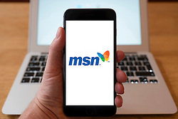 Using iPhone smartphone to display logo of MSN web  portal