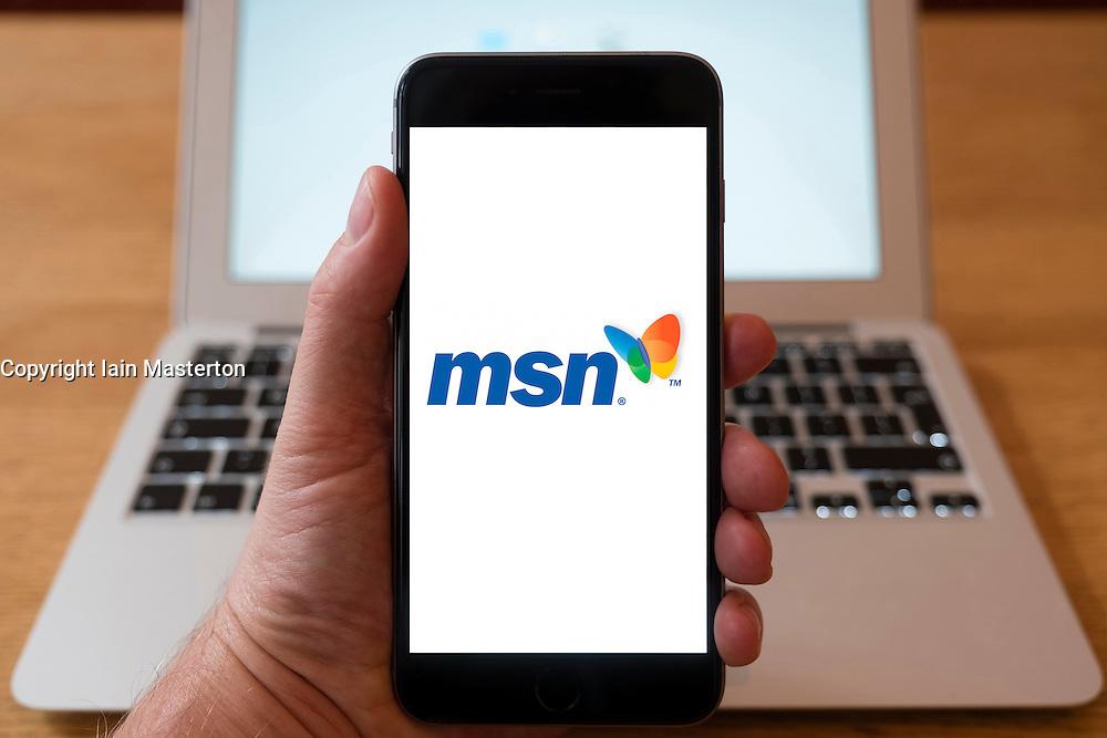 Using iPhone smartphone to display logo of MSN web  portal