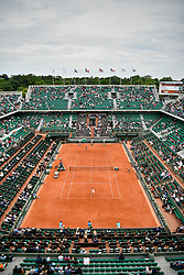 PARIS, June 3, 2017  Alize Cornet of France(Front) returns the ball to Agnieszka Radwanska of Poland during the women's singles 3rd round match at the French Open Tennis Tournament 2017 in Paris, France on June 3, 2017. (Credit Image: © Chen Yichen/Xinhua via ZUMA Wire)