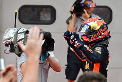 SEPANG, Oct. 1, 2017  Red Bull driver Max Verstappen (R) of the Netherlands celebrates after the Formula One Malaysia Grand Prix at the Sepang Circuit in Malaysia, on Oct. 1, 2017. Max Verstappen claimed the title of the event. (Credit Image: © Chong Voon Chung/Xinhua via ZUMA Wire)