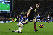 Seamus Coleman of Everton gets his cross in under pressure from John Stones of Manchester City. Premier league match, Everton v Manchester City at Goodison Park in Liverpool, Merseyside on Sunday 15th January 2017.<br /> pic by Chris Stading, Andrew Orchard sports photography.