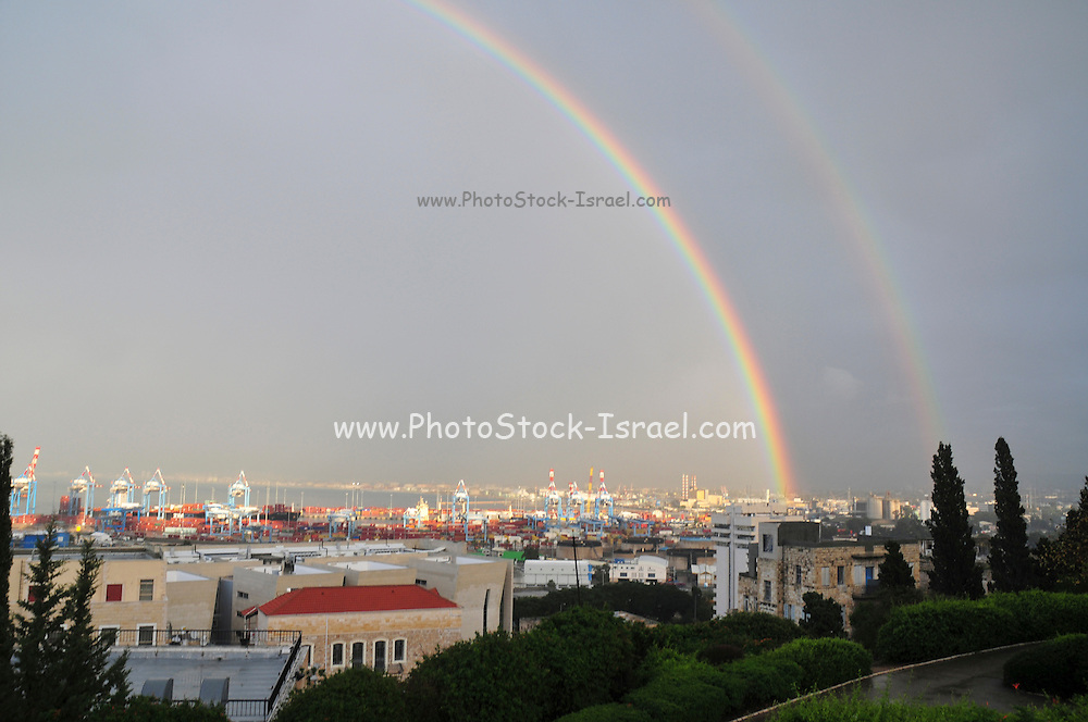 Israel, Haifa, a double rainbow over the city