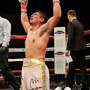 KISSIMMEE, FL - MARCH 05: Abraham Tebes celebrates his victory over Rafayel Simonyan during the Boxeo Telemundo All Star Boxing event at Osceola Heritage Park on March 5, 2021 in Kissimmee, Florida. (Photo by Alex Menendez/Getty Images) *** Local Caption *** Rafayel Simonyan; Abraham Tebes