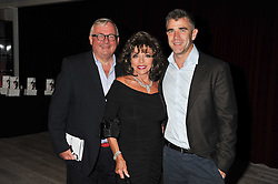Left to right, CHRISTOPHER BIGGINS, JOAN COLLINS and IVAN MASSOW  at a party to celebrate the publication of her  autobiography - The World According to Joan, held at the British Film Institute, South Bank, London SE1 on 8th September 2011.